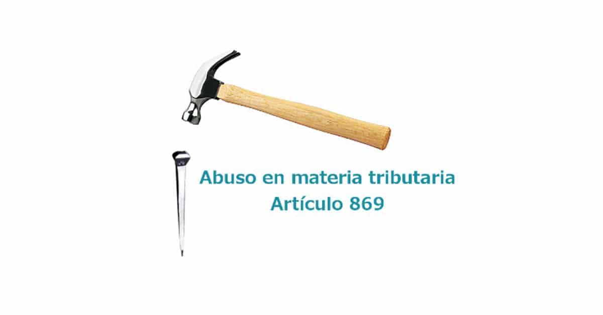 Artículo 869 Abuso en materia tributaria