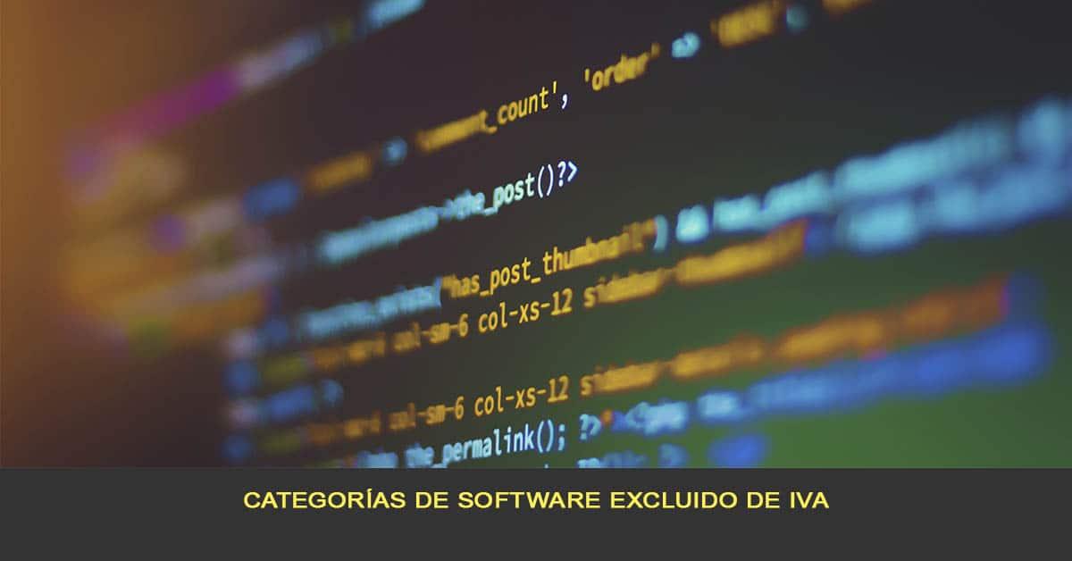 Categorías de software excluido de IVA