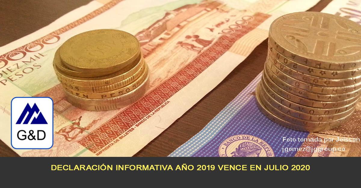 Declaración informativa año 2019 vence en Julio 2020