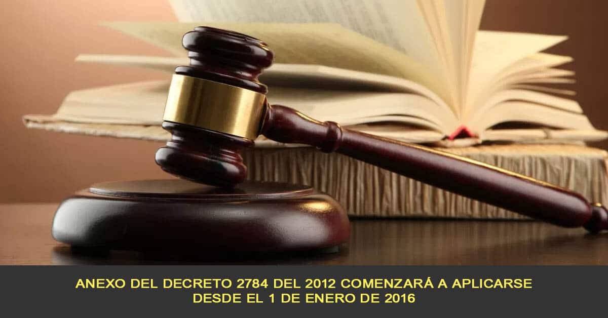 Anexo del Decreto 2784 del 2012 comenzará a aplicarse desde el 1 de enero de 2016
