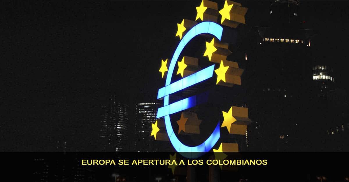Europa se apertura a los colombianos