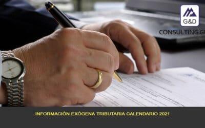 Información exógena tributaria calendario del 2021
