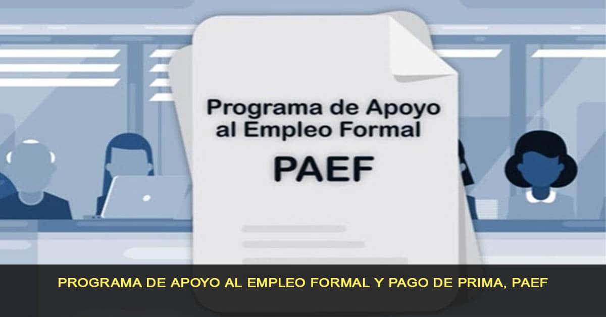 Programa de apoyo al empleo formal y pago de prima, PAEF
