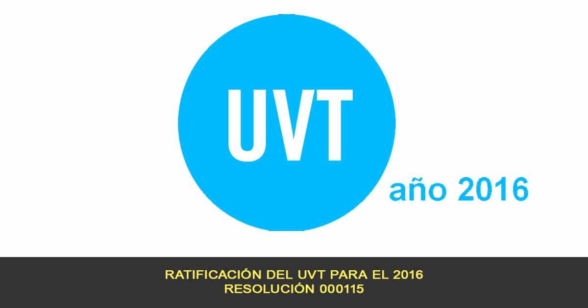 Ratificación del UVT para el 2016