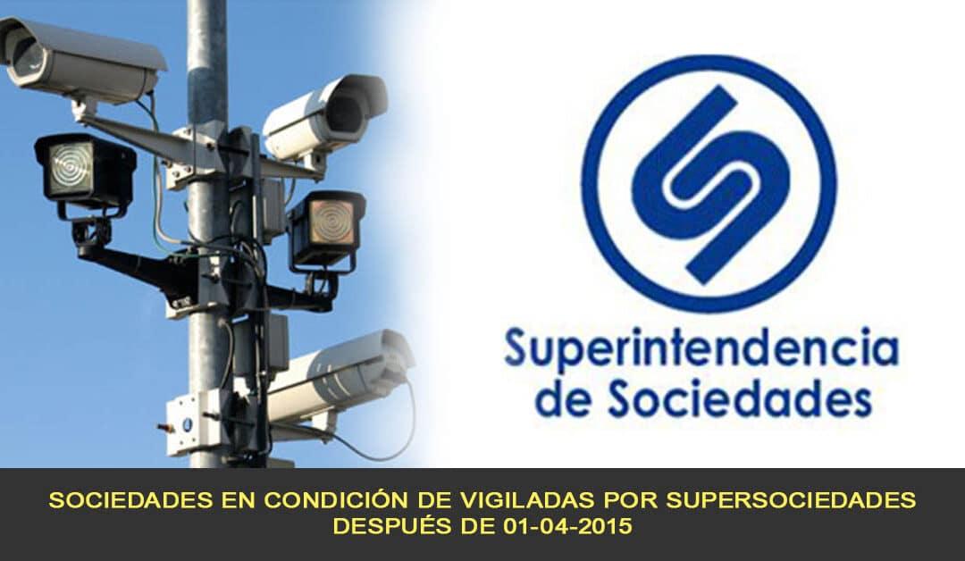 Sociedades en condición de vigiladas por Supersociedades