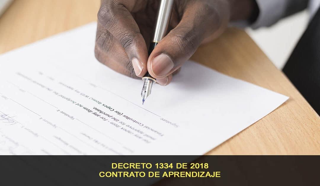 Contratación de aprendices SENA, decreto 1334 de 2018
