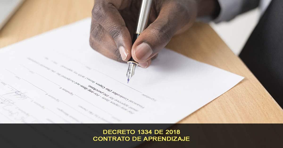 Contrato de aprendizaje, decreto 1334 de 2018