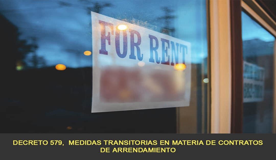 Decreto 579,  medidas transitorias en materia de contratos de arrendamiento