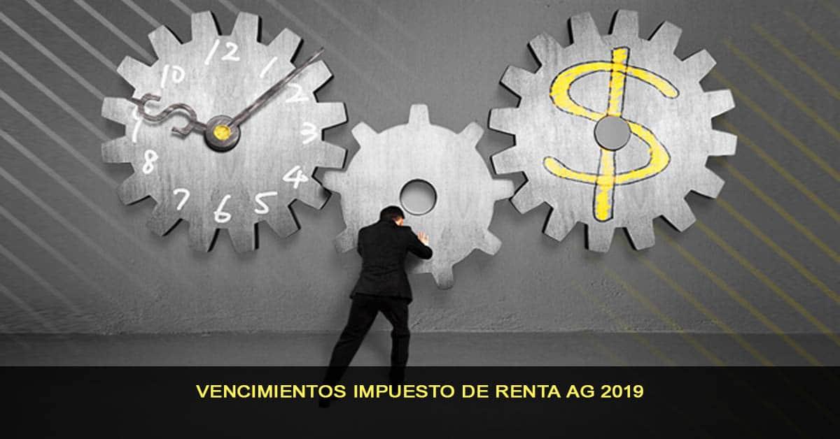 Vencimientos impuesto de renta AG 2019